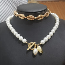 Luxury Imitation Pearl Choker Necklace Women Gold Color Bead Shell Pendant Necklace Statement cowrie Collar 2019 Fashion Jewelry(China)