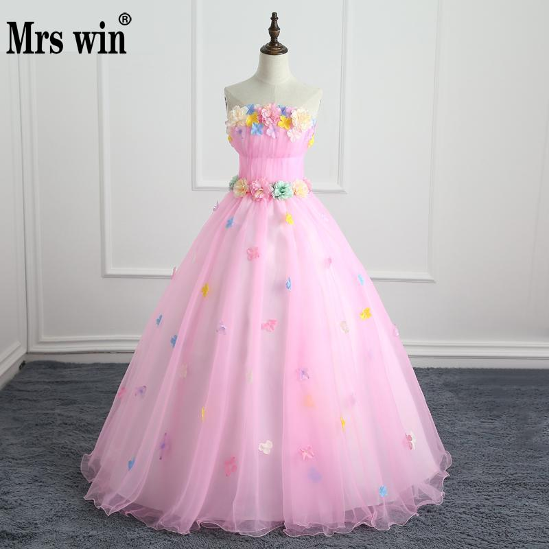Quinceaneras Dresses Mrs Win Sweet Flowers Crystal Ball Gown Lace Junoesque Debut Ball Gowns Party Prom