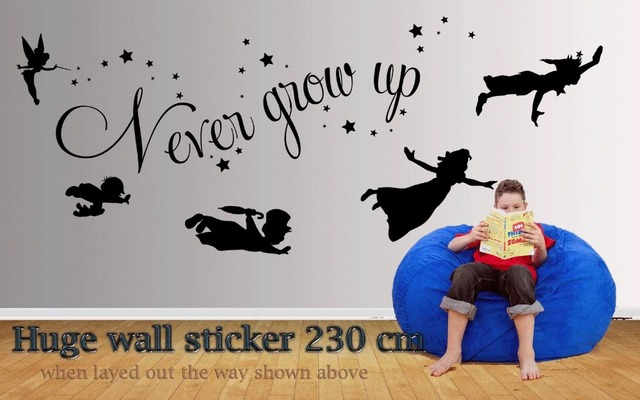 Huge Peter Pan Wall Sticker 93230cm Never Grow Up Quote Wall Decal