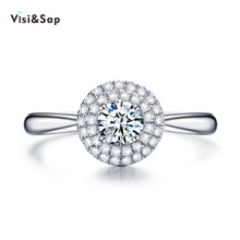 Visisap Elegant icedout fine Wedding Rings for women White gold color engagement gifts ring Dropshipping fashion jewelry VSR105