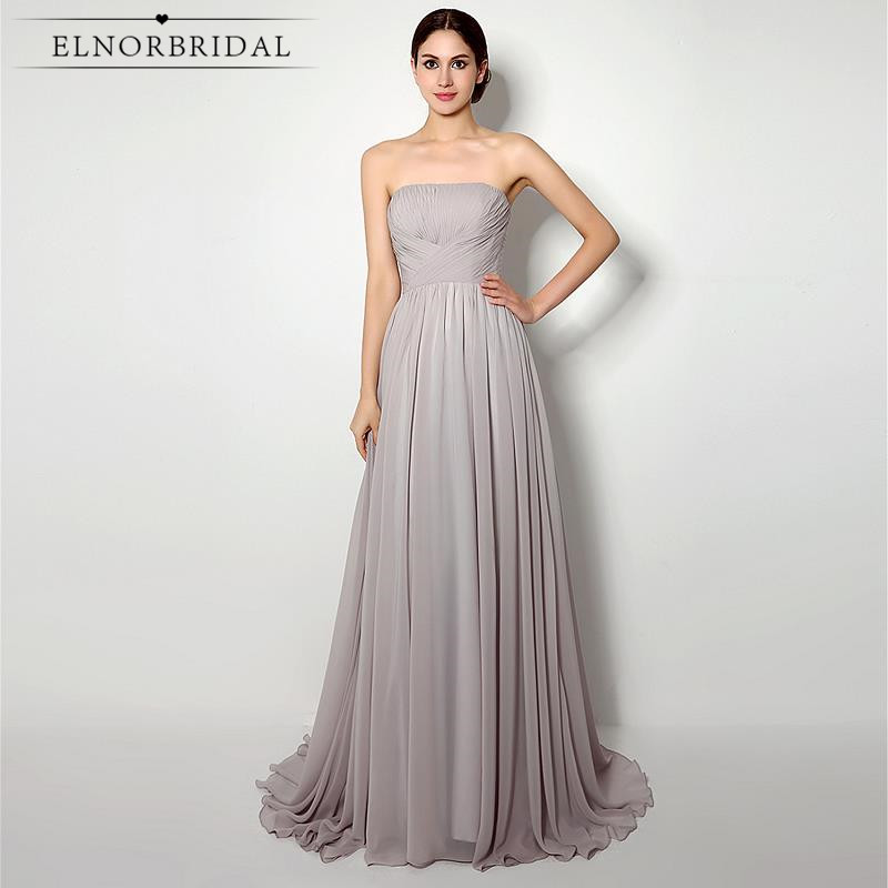 Elnorbridal Real Photo Grey   Bridesmaid     Dresses   Cheap 2019 Robe Demoiselle D'Honneur Maid Of Honor   Dress   Wedding Guest