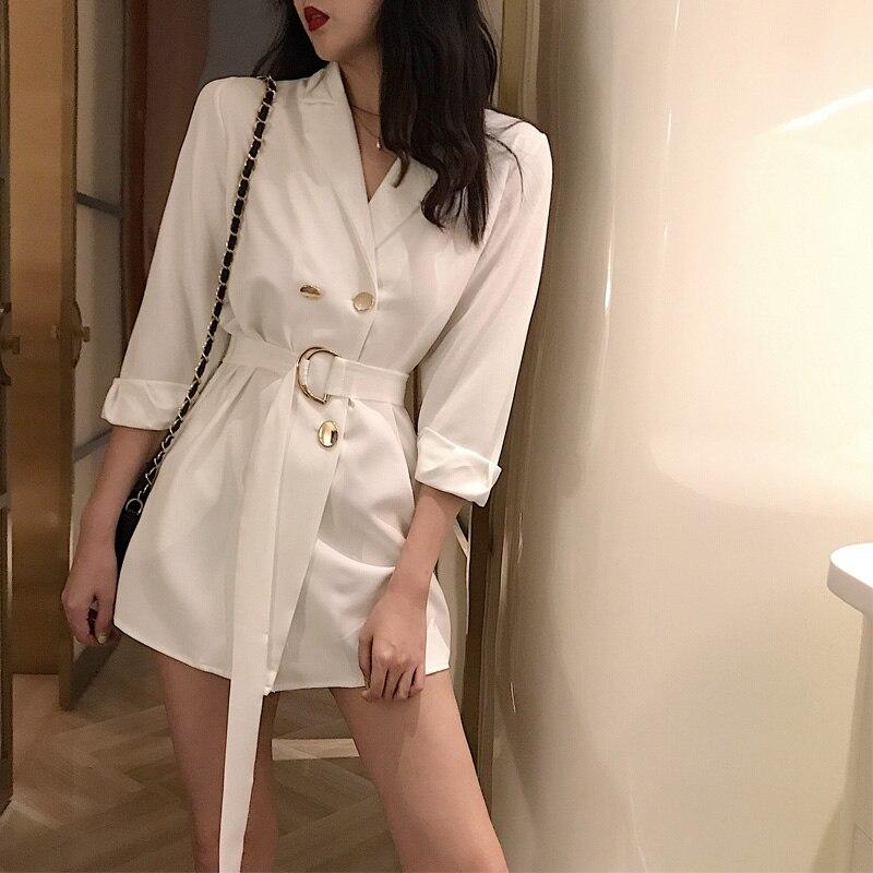 MUMUZI White Work Wear Double Breasted Women Jacket Blazer Notched Collar Female Suits Coat Fashion Houndstooth 2019 Spring