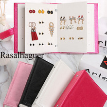 TOP Women Collection Pattern Portable Jewelry Page Display Pu Leather Stud Earrings Holder Jewellery Organizer