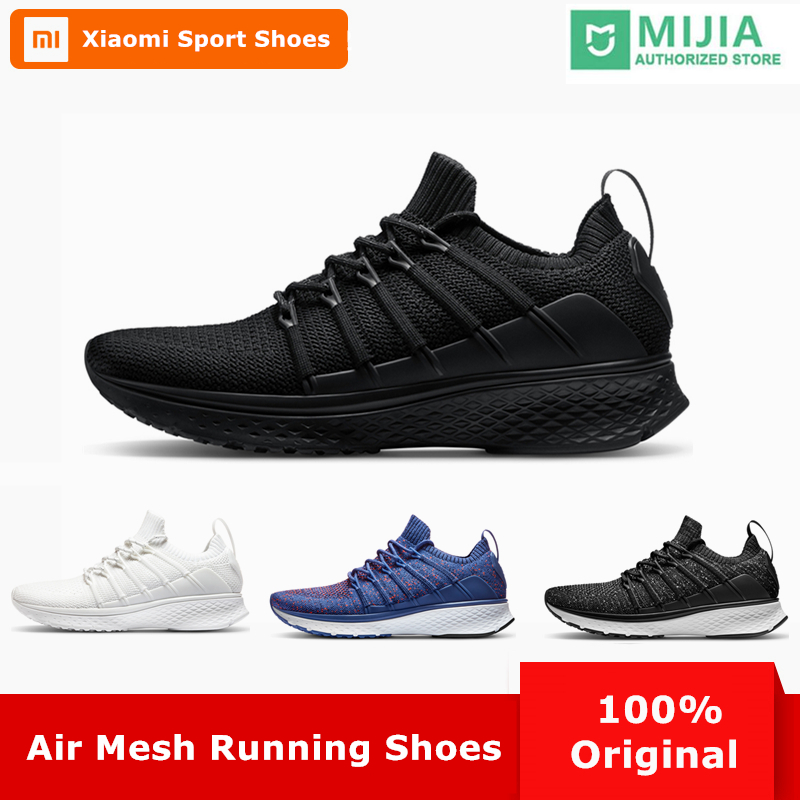 Original Xiaomi Mijia Men Smart Running Shoes 2 Outdoor Sport Mi Sneakers Breathable Air Mesh Gym Elastic Knitting Vamp Tennis ...