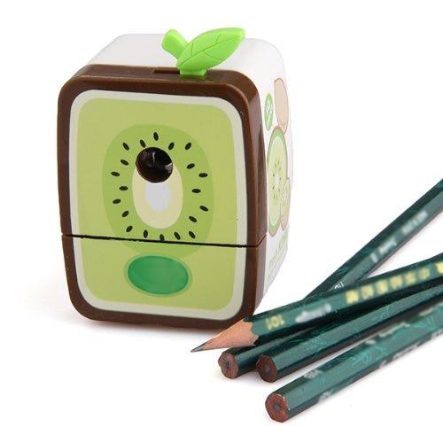 5pack 2017 New Affordable  Kiwifruit Pencil Sharpener Hand Crank Manual School Stationery Kids