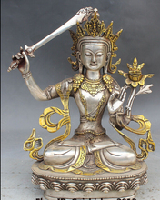 decoration bronze factory outlets Tibet Silver  12 Buddhism Gilt Wenshu Manjusri Goddess Hold Sword Buddha Statue