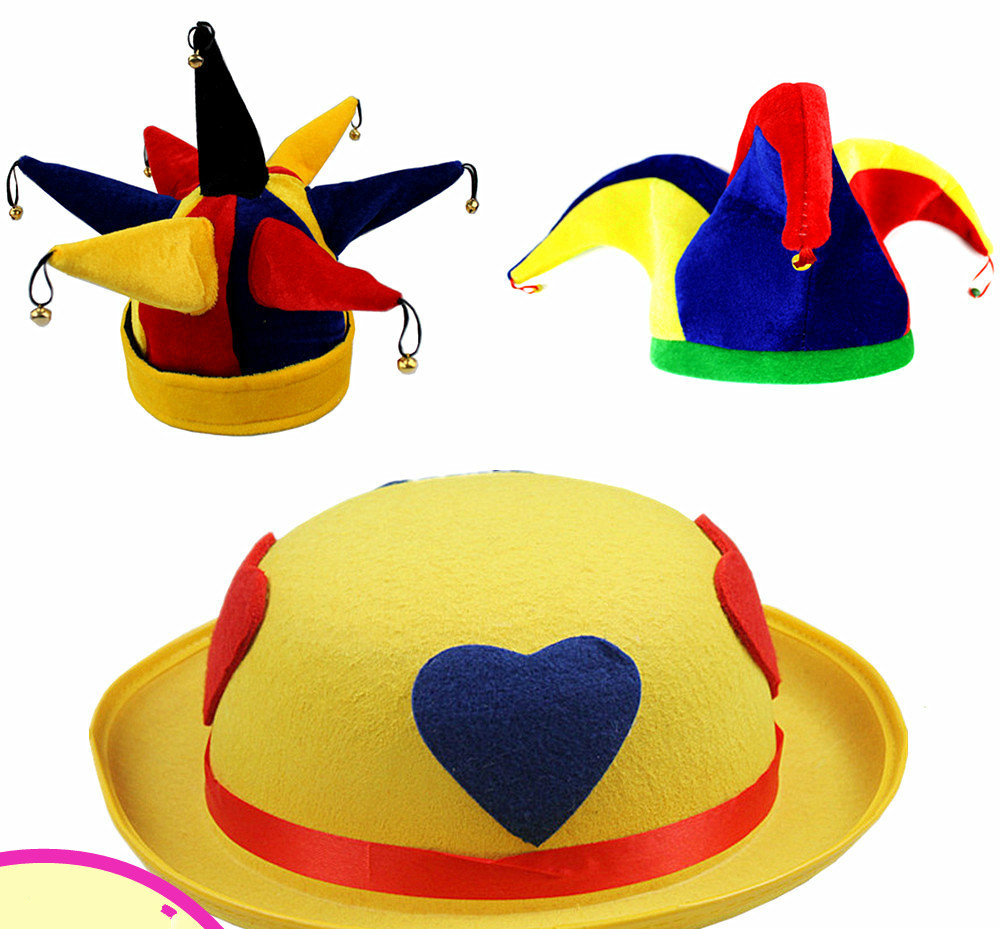 Funny clown hat with small bell yellow hat three