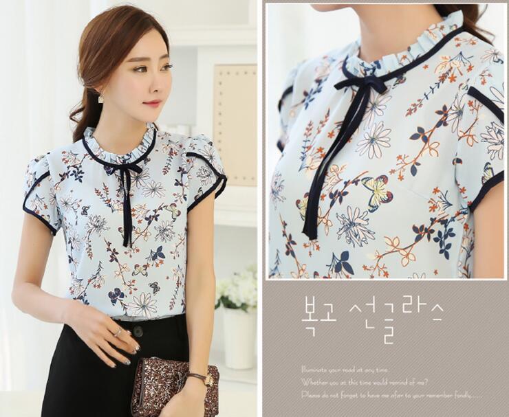 HTB1PATdQXXXXXc1apXXq6xXFXXXS - Floral Print Chiffon Blouse Collar Short Sleeve Women