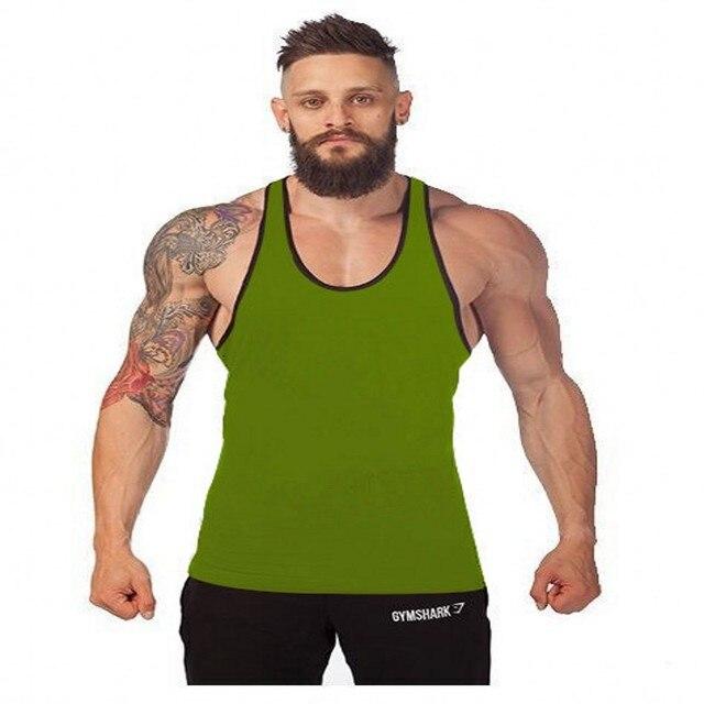 d7cb795b9fa56 2017 Men Cotton Stringer Bodybuilding Equipment Fitness A fitness Tank Top  shirt Solid Singlet Y Back movement clothes Vest