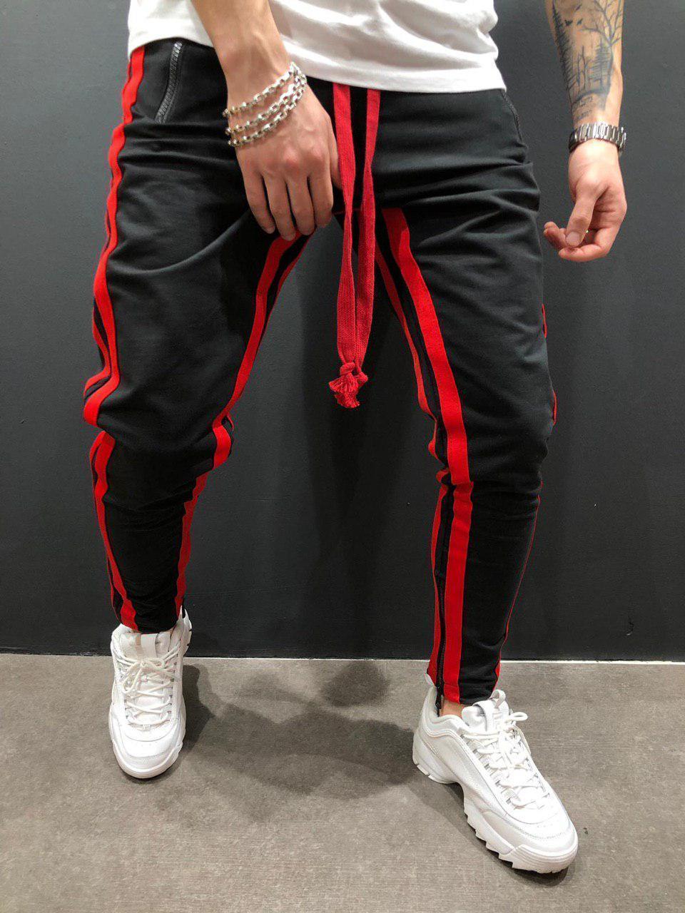 Мужские брюки для отдыха, бодибилдинга, с разрезом, на молнии, для ног, для движения, брюки для бега, спортивные штаны - Цвет: Black red