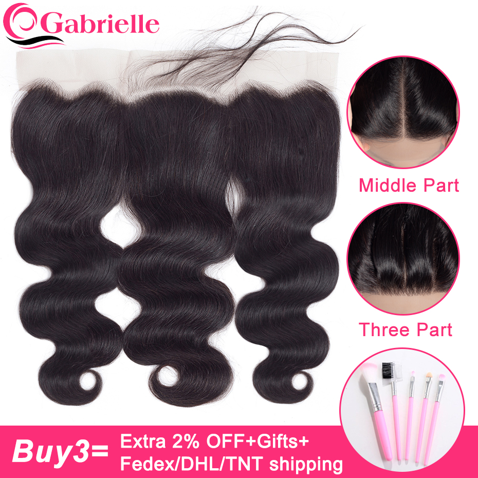 Gabrielle Frontal-Closure Human-Hair Lace Brazilian Body-Wave 8-22-Inches 13x4 100%Non-Remy