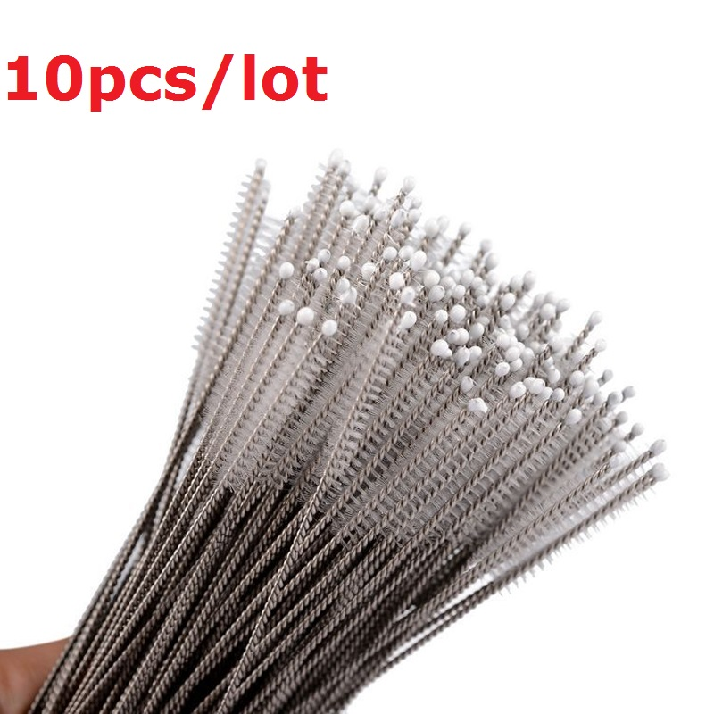 10pcs Baby Milk Feeding Bottle Drink Water Cup Straw Washing Brush Cleaner Stainless Steel Handle Spiral Soft Hair Cleaning Tool water driven rotary cleaning brush car handheld water brush automotive cleaner non electric washing tool