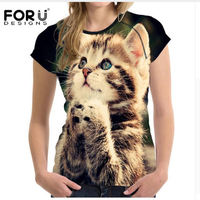 FORUDESIGNS Kawaii 3d Cat T Shirts For Women Tops 2017 Summer Elastic Short Tshirts Girls Ladies