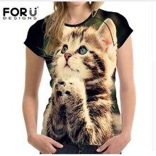 FORUDESIGNS Kawaii 3d Cat T Shirts for Women Tops,2017 Summer Elastic Short Tshirts Girls Ladies,Tee Shirt Femme polera mujer