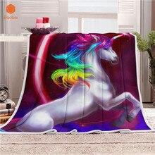 Manta de dormir Super suave unicornio caballo terciopelo felpa manta arte niños manta tiro de la toalla de playa de viaje impreso CB75