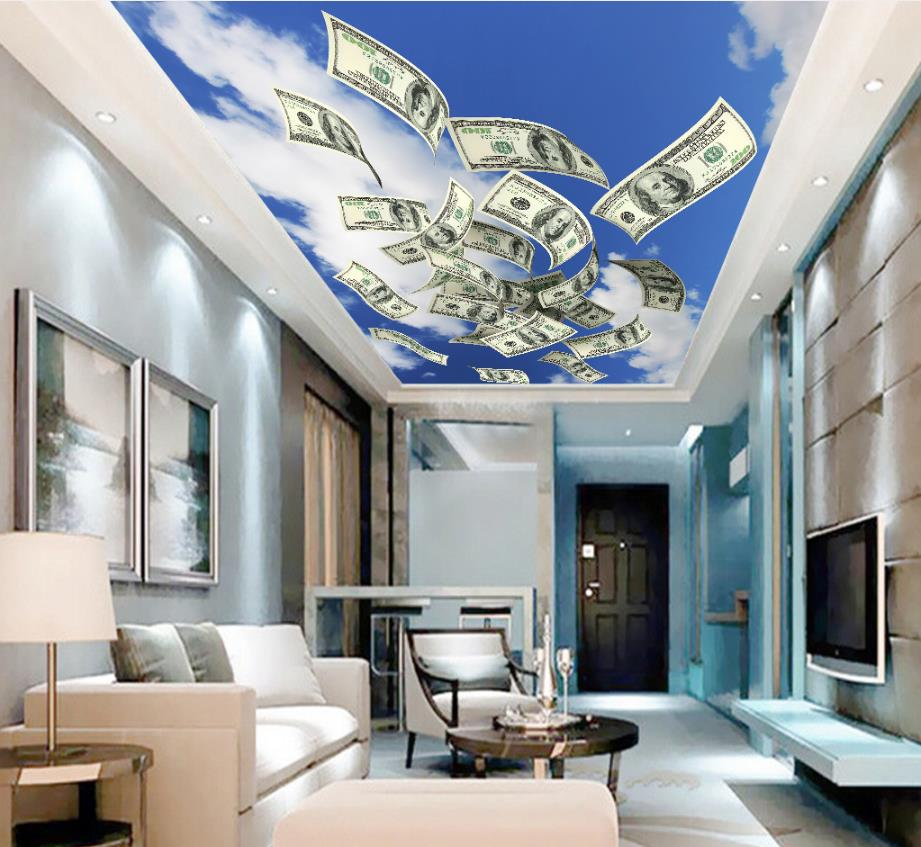 3d Ceiling Murals Wallpaper Dollar bill Clouds sky scattered bill notes Creative style With Any 3d Ceiling Background blue sky and white clouds ceiling murals wallpaper living room bedroom hotel 3d ceiling wallpaper background