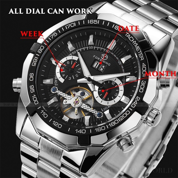 FORSINING Men Luxury Brand Automatic Mechanical Watches Casual Sports Fashion Full Stainless Steel Wristwatch Relogio Masculino