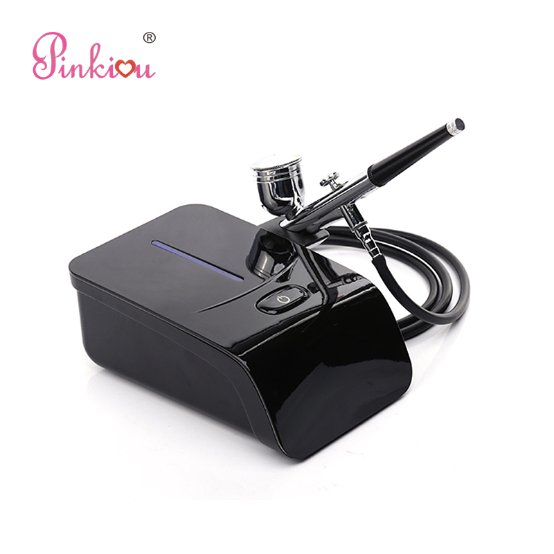 Pinkiou Touch-screen Control 5 Gears Airbrush Compressor Kit Aerografo Cosmetics For Face Paint Makeup,Coloring Cake,Nails Art new airbrush makeup kit mini compressor double control airbrush pen akvagrim face paint cosmetics airbrush for nail art design