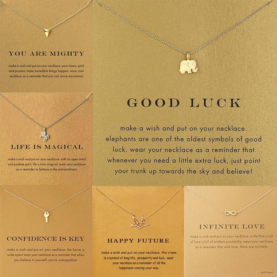 6 Styles Golden Wish Choker Necklace For Women Elephant Key Unicorn Infinite 8 Letter Triangle Paper Crane Pendant Necklace gold earrings for women