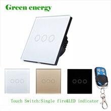 MiniTiger smart switch,  Crystal Glass EU Standard wall touch switch,240V switch/50~60Hz,3 gang 1 wayTouch Wall Light Switch