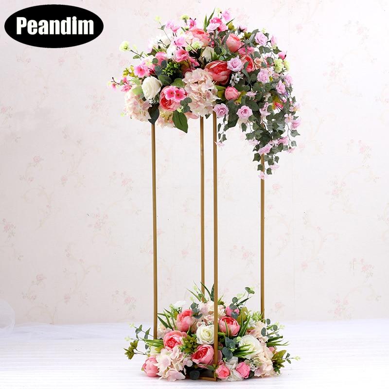 10PCS Europe Floor Vases Gold Column Flower Stand Wedding Table Flower Holder Flower Rack For Home/Wedding Decoration Gifts