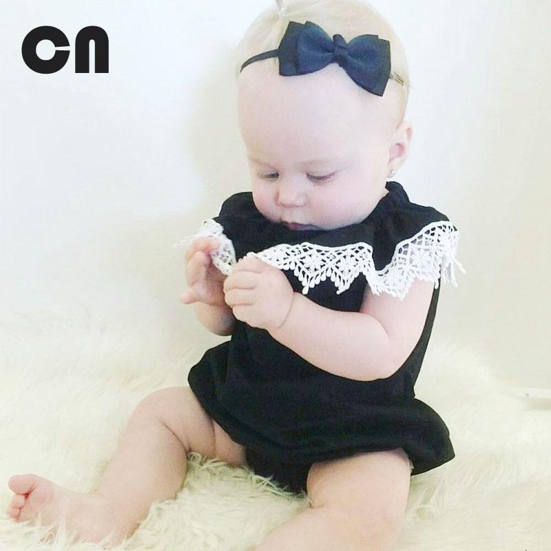 CN zomer baby meisje bodysuits katoen kant zwart mouwloos Jumpsuit - Babykleding - Foto 1