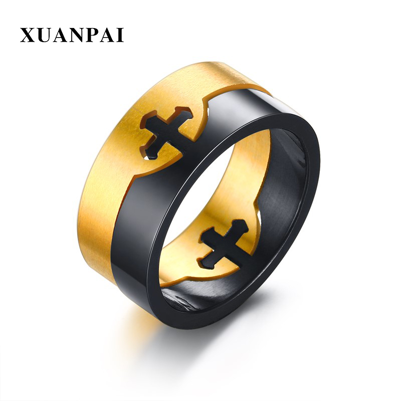 XUANPAI Mens Detachable Cross Ring Unique Removable Two Rings Stainless Steel Male Party Finger Jewelry