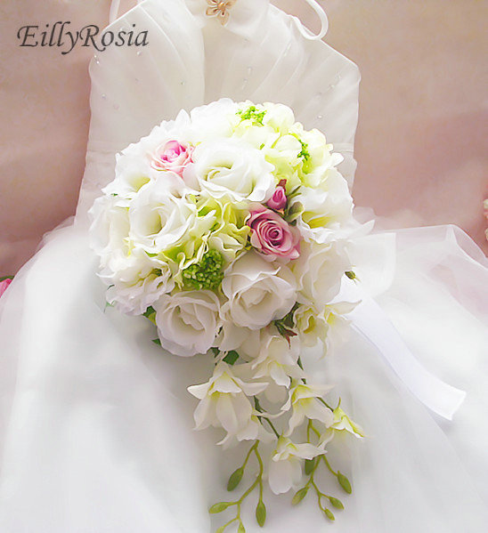 Ramo De Novia White Roses Silk Round Brooch Flowers Wedding Bouquet