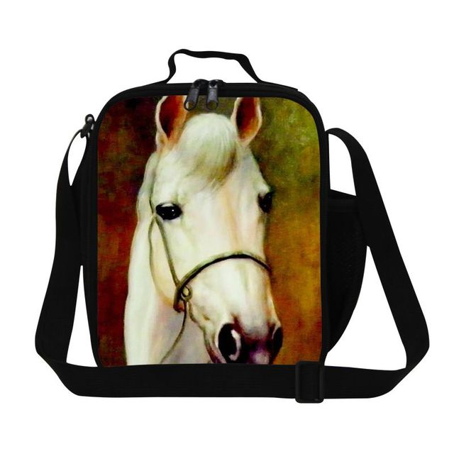 Dispalang novelty design horse pattern school lunch box for girls boys cool kids picnic thermal lunch bag with double zipper
