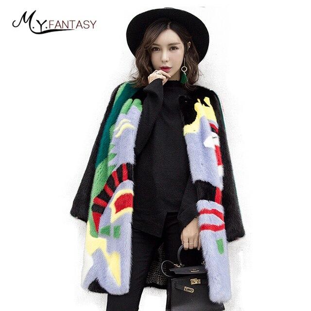 M Y FANSTY 2019 colorido invierno Patchwork Color cuello redondo visón abrigo de piel Real verde completo Pelt medio Causal pérdida visón abrigos