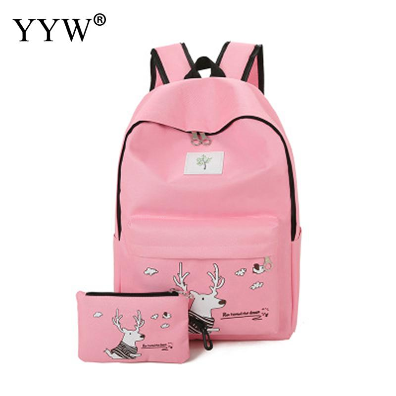 2pcs Printed Bag Sets Oxford Women Student Backpack Mochilas Waterproof Travel Backpack High Quality Embroidery Letter Backbags