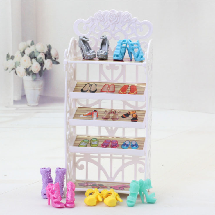Buy 1 Pcs Cabinet You Will Get Free 1 Pairs Barbiees Shoes 20 Pairs Shoes / Shoe Cabinet White Rack Furniture For Barbiees Doll