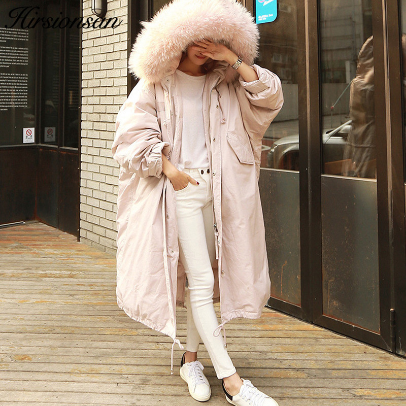 Hirsionsan Winter Coat Women Large Fur Collar Hooded Long Jacket Thicken Warm Korean Padded Parkas 2017 Oversized Military Parka цены онлайн
