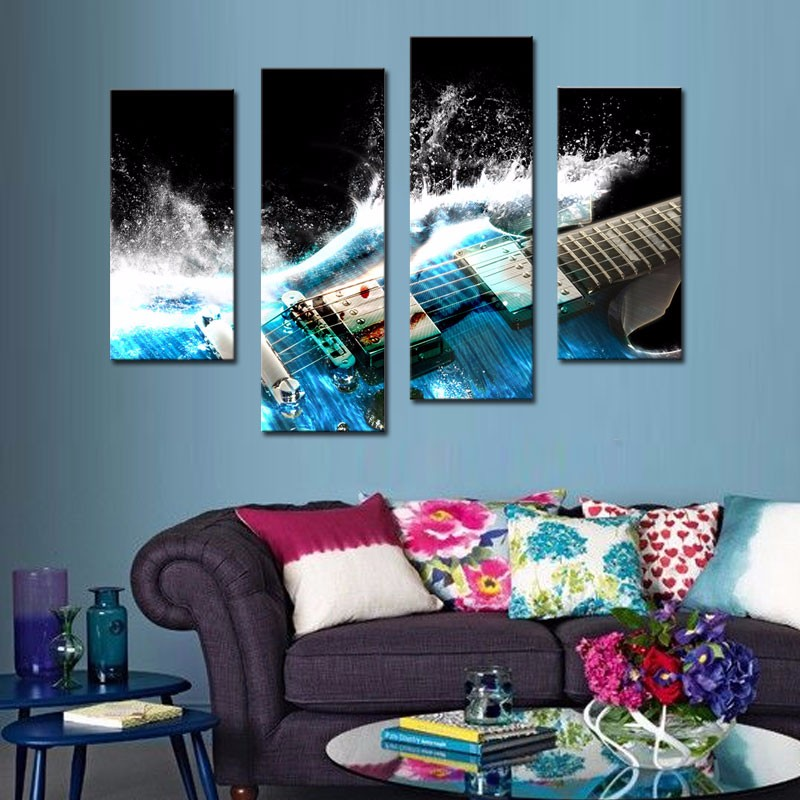 4 picture combination guitar in blue and waves looks beautiful wall art painting on canvas music - Latest beautiful wall decoration ...
