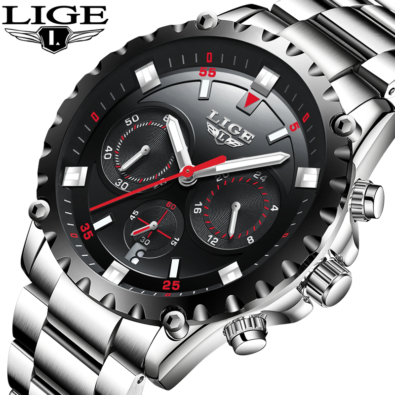LIGE Mens Watches Top Brand Luxury Business Quartz Watch Men Stainless Steel Casual Waterproof Sport Watch Man Relogio Masculino new lige brand men s watches sport waterproof quartz watch men stainless steel business clock man wristwatches relogio masculino