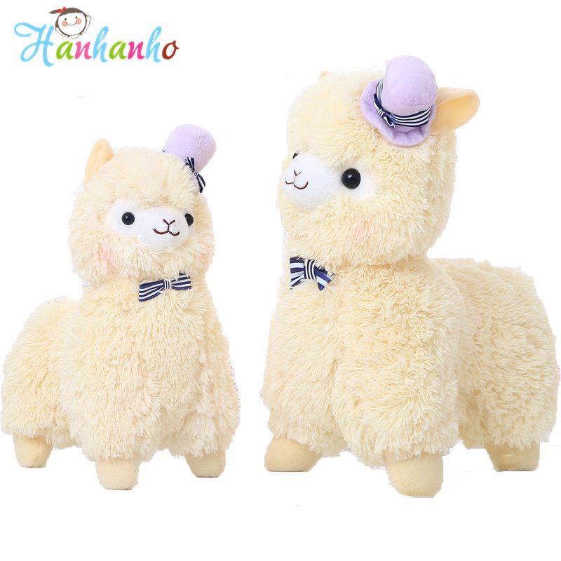 Kawaii Alpaca Plush Toys Cute Doll With Topper Hat Bow Soft Sheep Stuffed Toys Gift For Girl 1pcs 35cm 5 colors cute stuffed plush toy toot sheep soft doll with scarf toys gift for girl free shipping