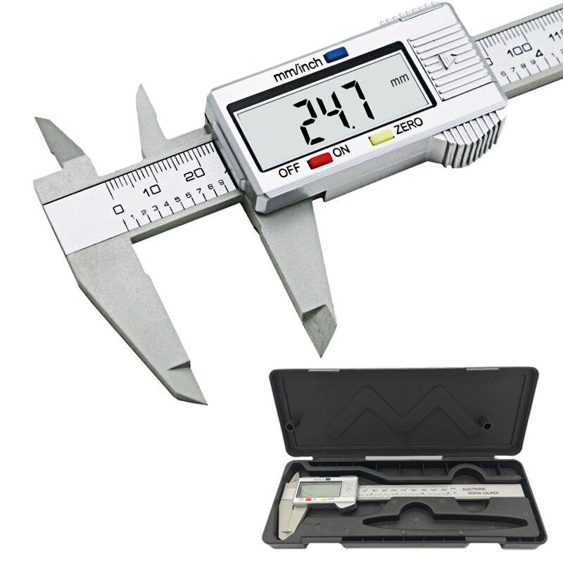 Caliper LCD da 6 pollici 150mm Modello In Fibra di Carbonio Elettronico Digitale Compasso A Nonio Micrometro Digitale Pinze strumento
