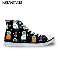 5d772d5f7 INSTANTARTS 3D Galaxy Space Cat Print Men S Casual Canvas High Top Shoes  Spring Breathable Man