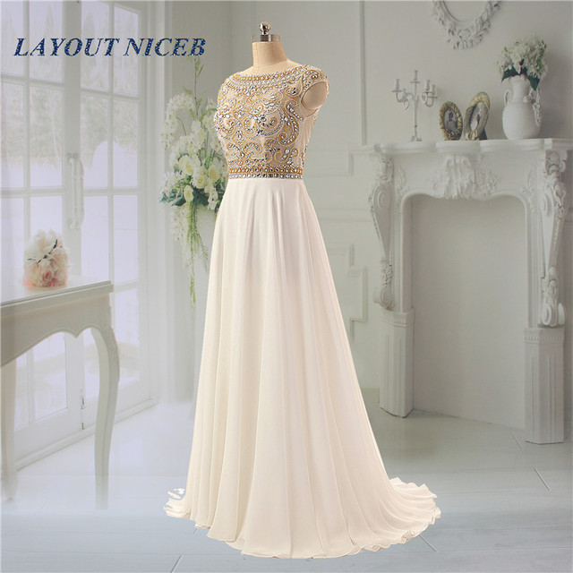 Shining Rhinestone Beading Evening Dresses Scoop Neck Backless ...