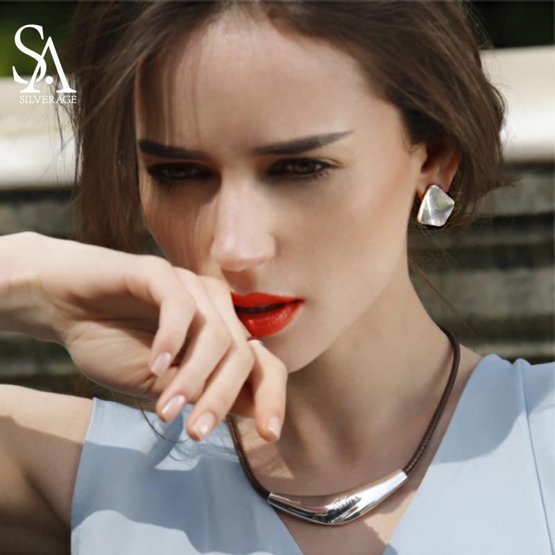 SA SILVERAGE 925 Sterling Silver Earrings Geometric Party Stud Earrings Fine Jewelry for Women Fine Jewelry
