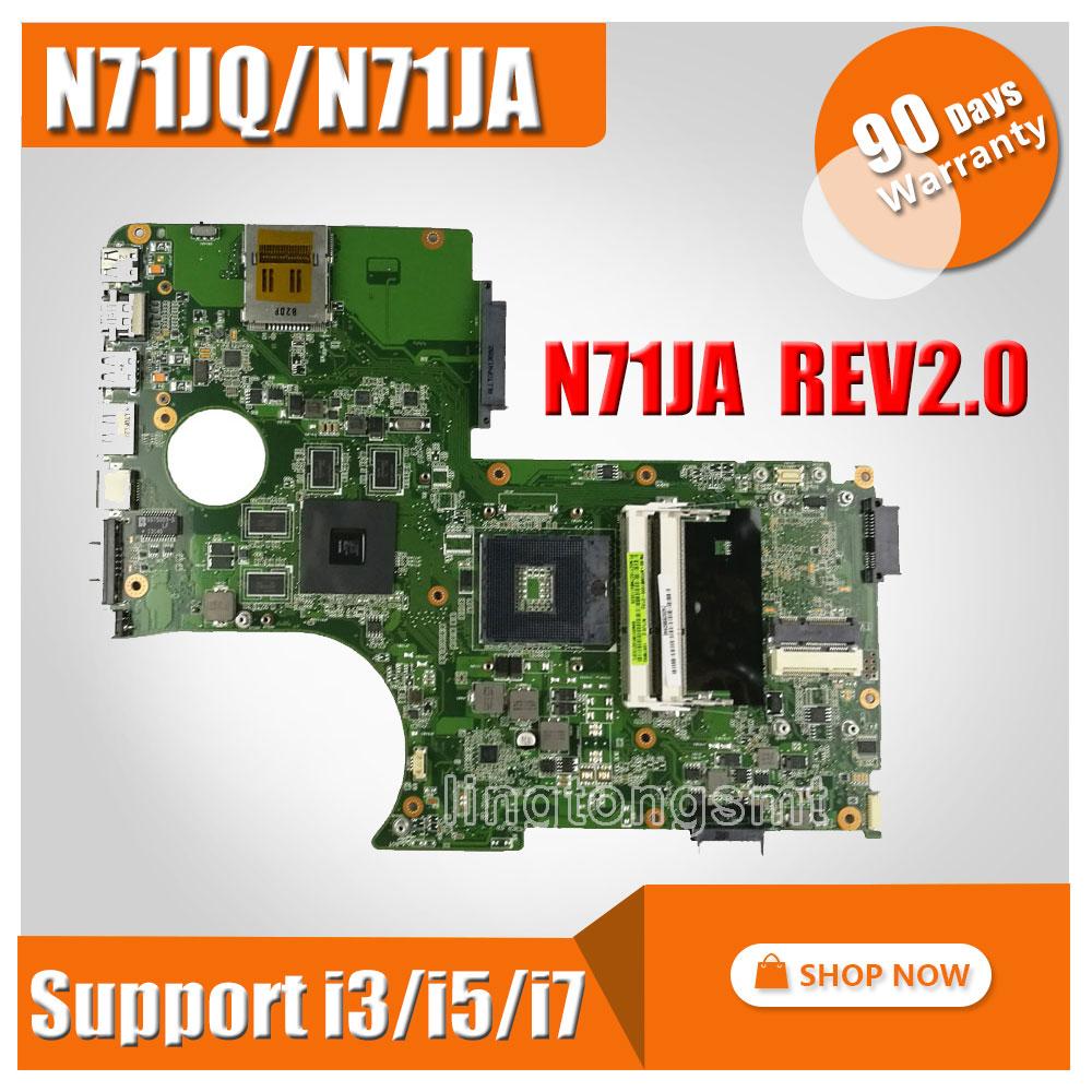 N71JQ Laptop motherboard For Asus N71J N71JA REV2.0 Mainboard Support i3/i5/i7 Processor HD5730 1GB 216-0772003 fully tested for asus u36jc motherboard with i3 380m 390m processor gt310m with 1gb ddr3 vram 100