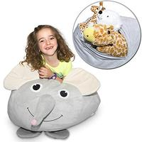 Stuffed Animal Storage Bean Bag Comfy Fabric Kids Love Monkey, Pig Or Elephant Replace Your Mesh Toy Hammock Or Net