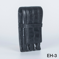 Crocodile pattern High Quality Leather Fountain Pen Case / Bag for 3 Pens - Black Pen Holder / Pouch