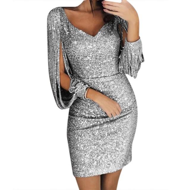 Sequin Dress Long Sleeve Party Women Sexy Bodycon Silver Hollow Out Long Sleeve slim Midi Dress Vestidos de Festa #3