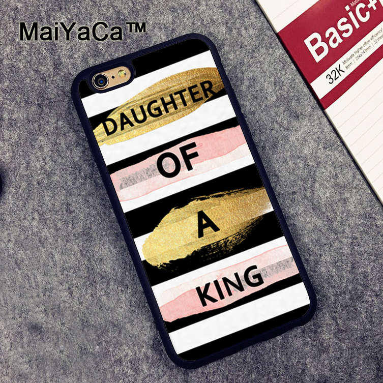MaiYaCa Fun Bible Christian King Quote Pink Gold Soft TPU Skin Cell Phone Cases For iPhone X 6 6S Plus 7 8 Plus 5 5S SE Cover
