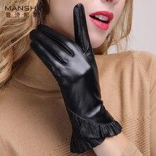Winter new stylish genuine leather touch screen gloves woman winter sheepskin add velvet warm telefingers MLZ012