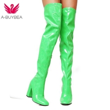 A-BUYBEA Sexy Party Shoes Woman Over The Knee Boots Girls Fancy Dress High-Heel Women Boots Bright Patent Leather Long Boots 43