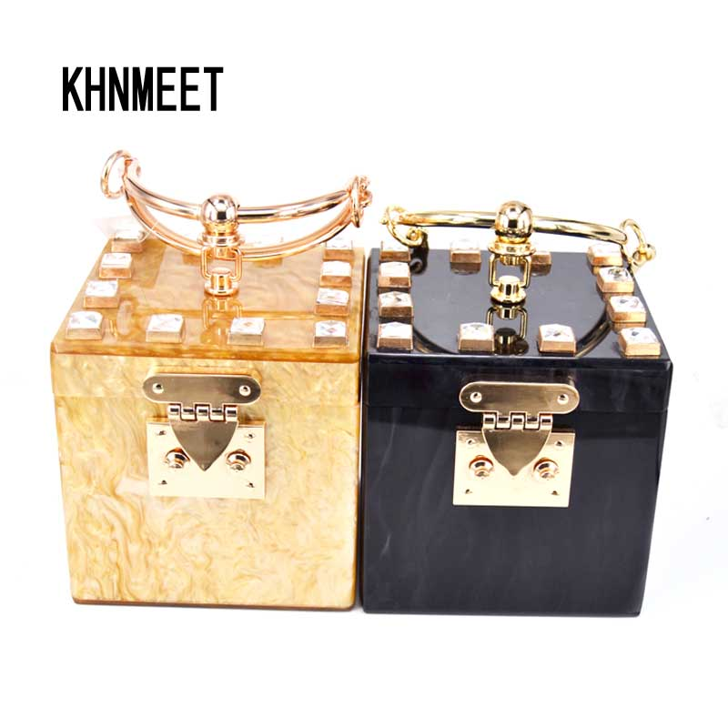 Golden Black Square Box Clutch Bag Acrylic Fashion Women Party Wristlets Bag Box Lock Handbags Ladies Wedding Bride Feast Purse party box black
