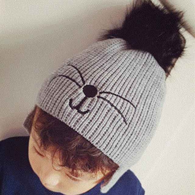 e0c348fcf US $6.42 5% OFF|2017 New Cute Kids Faux Fur Pom Pom Cat Face Knitted Beanie  Hat Ears Protection Skullies Hats Bonnet Caps For Boys And Girls-in ...