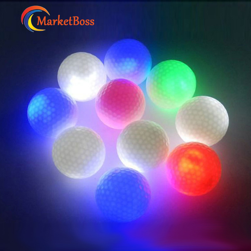 10pcs/Pack Colorful Flashing LED Electronic Golf Ball Novel Sport Balls Bright At Dark Gift For Player